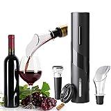 Set apribottiglie elettrico vino,cavatappi elettrico,apribottiglie include apribottiglie automatico, tappi sottovuoto, taglia pellicola, versatore aeratore vino per feste