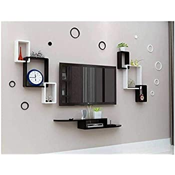 Wood Carver TV Entertainment Unit Set Top Box Wall Stand Home Decor Wall Shelf Wooden Racks Wall Decor Black & White 1 Set Top Box Stand and 2 Interconnect (Now Rings Included)