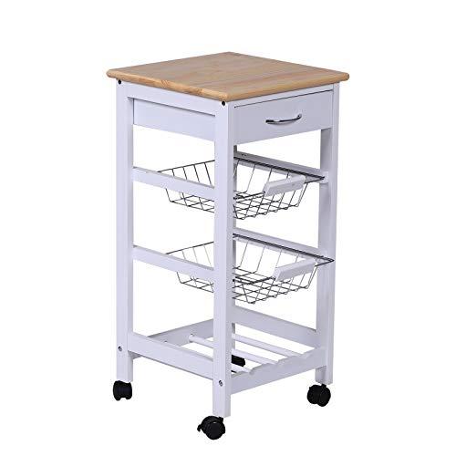 HOMCOM Servierwagen Küchenwagen Küchentrolley Beistellwagen mit Schublade Weiß