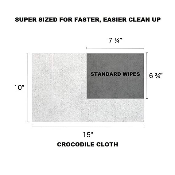 """Crocodile Cloth Industrial Cleaning Wipes - The Stronger Easier Way to Cut Through Grease, Oil, and Adhesives on Hands… 4 MORE EFFECTIVE, MORE VALUE: These giant 15"""" x 10"""" cloths are designed to scrub and absorb, meaning you need less wipes to clean the same mess. If you need more than one wipe for a mess you need to move on to Crocodile Cloth DON'T JUST CLEAN. ATTACK: Designed to dissolve and absorb grease, oil, paint, ink, caulk, glue, and automotive messes in real work environments. Our wipes stay moist longer and feature a super tough heavy-duty build HAND SAFE: Our wipes are dermatologically tested and infused with aloe and vitamin E to be safe for hands while eating through grease and oil. Every disposable cloth will stay wet outside the package for over an hour."""