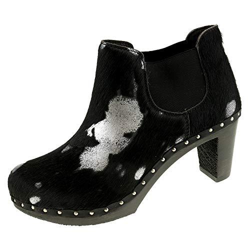 Berkemann Damenschuhe 1885 Carly 00317671 Silber schwarz Kuhfell Stiefelette Stiefel (37.5 EU)