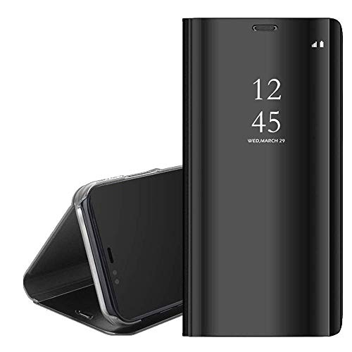 QC-EMART Étuis à Rabat pour Samsung Galaxy A20e Coque Portefeuille Folio Housse Miroir Transparent Clear View Style de Livre Antichoc Etui Protection Téléphone Portable Case Cover Noir