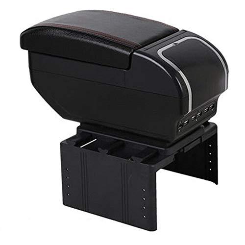 HIGHER MEN Para Dacia Renault Fluence/Logan Apoyabrazos Box Car Apoyabrazos Caja de Almacenamiento Centro Consola del Coche-Estilo Interior Accesorios de Coche (Color Name : E Style Black Red)