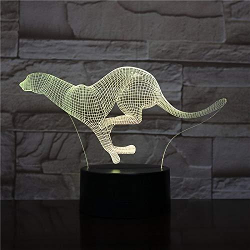 Luz de Noche acrílica de Leopardo con Control Remoto táctil de Color ilusión Cambiar lámpara de decoración del hogar
