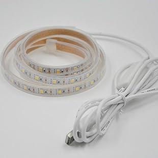 100CM 3.3ft USB led strip light super bright 12W DC5V 2835 60le ip65 silicone tube waterproof Warm White Led Cabinet Lighting for TV background,Kitchen Closet,Wardrobe,Shelf