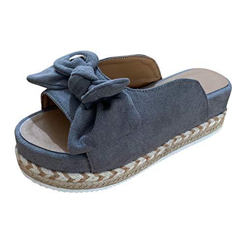 URIBAKY Sandalias de verano para mujer, sin cordones, sandalias de playa con nudo plano, zapatos de punta abierta, sandalias transpirables, zapatillas tejidas, Gris (gris), 38 EU