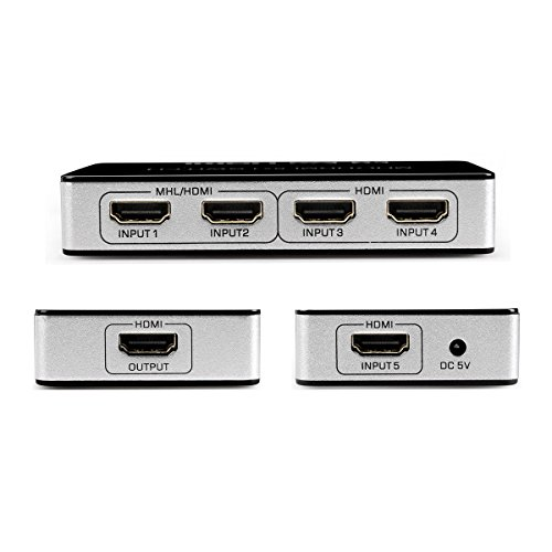 Doxgo 5 Port 5x1 HDMI Switch Box Ultra HD 4K x 2K with IR Wireless Remote Control, Supports MHL 1080P Full HD HDTV 3D