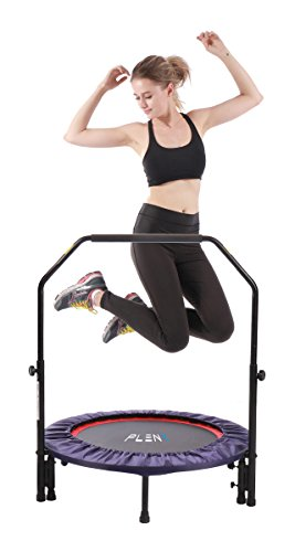PLENY Indoor Mini Fitness Trampoline with Handle, 2-in-1 Lean Aerobic Exercise Rebounder - 38 inch (Purple)