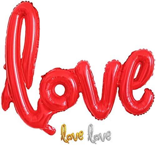 DIWULI, Globo gigante XXL con texto 'Love', color rojo, para cumpleaños, bodas, fiestas, decoración, sorpresa, accesorios, decoración