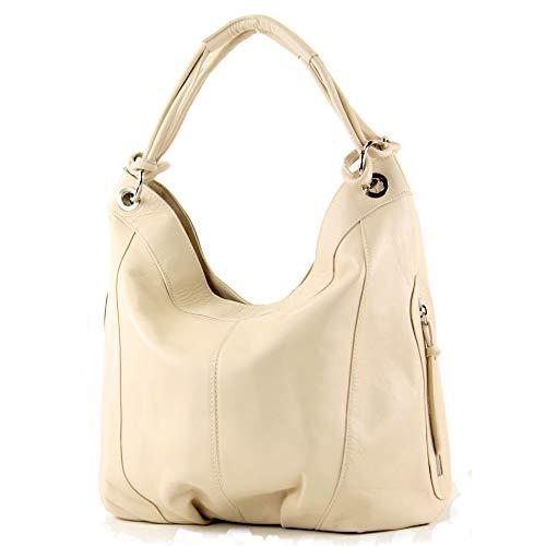 modamoda de - mujeres italianas bolso de cuero/piel de napa Z18, Color:beige claro
