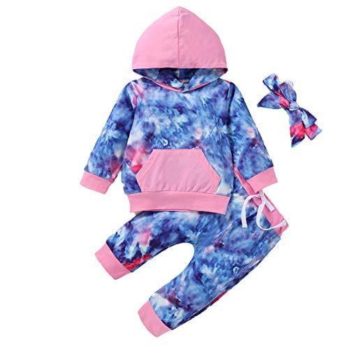Ropa de niña pequeña Tie Dye Sudadera de Manga Larga Sudadera con Capucha Pantalones Superiores Diadema 3 Piezas Conjunto Completo Ropa de otoño Invierno 80 Rosa 6-12 Meses