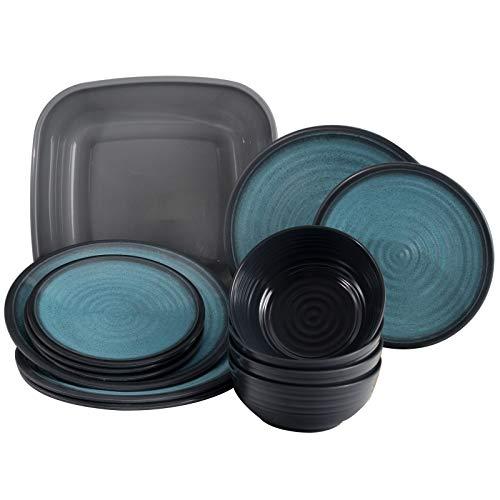 Melamin Geschirr für 4 Personen in Blau Granit-Optik 13 Teile - mit Waschschüssel - mit je 4 großen Teller, 4 Dessertteller, 4 Schälchen - sehr robust dickwandig - farbecht - modernes Design - leicht