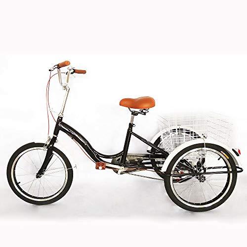 SHIOUCY Shimano - Bicicleta de 3 Ruedas para Adultos, 20 Pulgadas, Triciclo, Bicicleta de Carretera, sillín Flexible, Cesta para Triciclo, Pedal, Cesta de la Compra, DHL