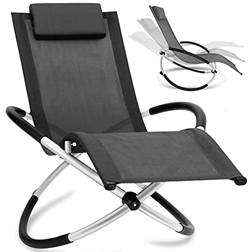 KESSER® Relaxliege Liegestuhl | Gartenliege Sonnenliege | Gartenstuhl | Klappstuhl faltbar | Schwungliege | Schaukelsessel | ergonomische Relaxsessel | wetterfest | 180 kg Belastung | Anthrazit