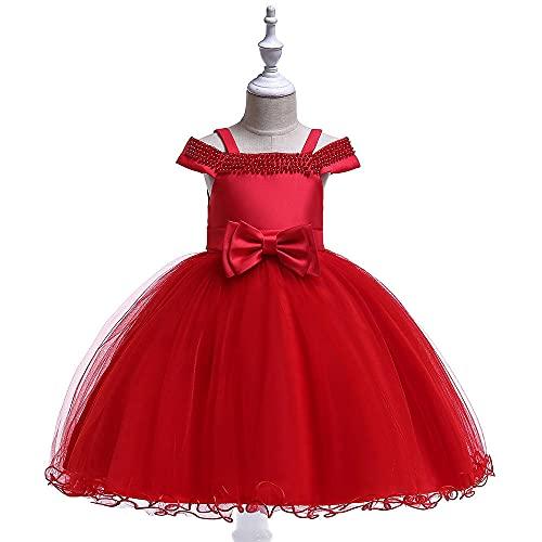 WTFYSYN Vestido de Bola del Desfile,Vestido de Princesa para niños, Vestido de Rendimiento de Vestido de niña-Rojo_120 cm