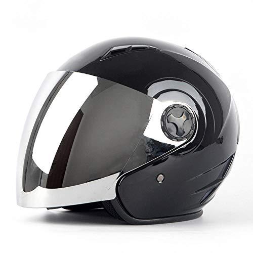 Elektrische motorhelm half overdekt schattig licht pothelm vier seizoenen warme helm-Helder zwart 【Zilveren spiegel】 Licht, comfortabel en veilig helmet_XL