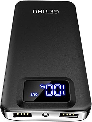 GETIHU Power Bank, 10000mAh Am schlanksten & leichtesten USB C Externer Akku, DREI 3A-Ausgänge Handy Powerbank mit Taschenlampe für iPhone 13 Samsung Huawei Xiaomi iPad Airpods Android mehr.