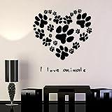 I Love Animal Heart Dog Cat Paw Print Tienda veterinaria Peluquería de mascotas Salón Cuidado de la salud de mascotas Vinilo Etiqueta de la pared Calcomanía Dormitorio Estudio Club Decoració