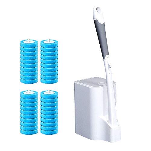 JXYNB Cepillo de Inodoro desechable de Mango Largo, Herramienta de cepillos limpios curvados del Lado del baño, Viene con líquido de Limpieza Incluye 1 Mango, Carrito de Almacenamiento y 40 recargas