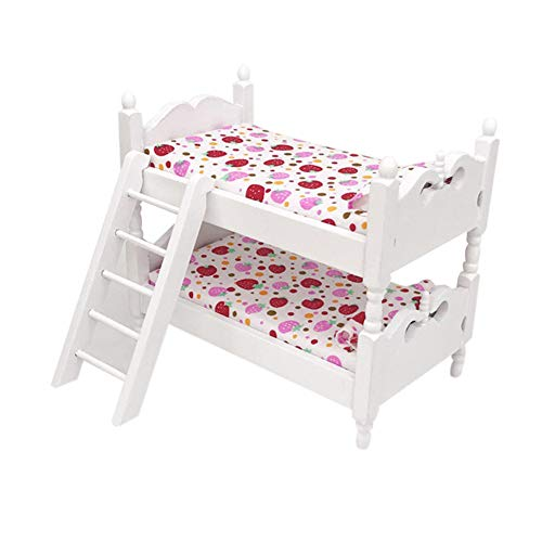 Academyus Doll House Bed, 1/12 Mini Doll House Bunk Bed Living Room Doll House Furniture Decor Kids Pretend Play Toy(Cute Strawberry)