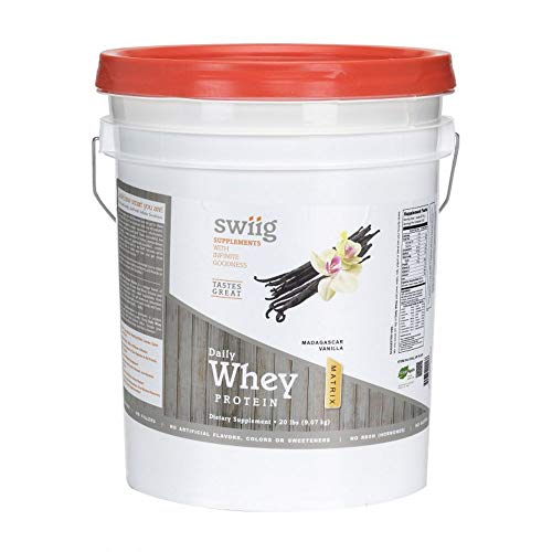 swiig Daily Whey Matrix Protein Powder, Madagascar Vanilla, 20 Pound
