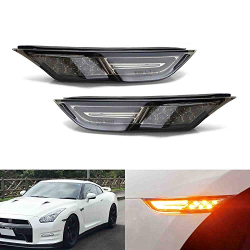 iJDMTOY JDM Smoked Lens 3D Amber Full LED Front Side Marker Light Kit Compatible With 2007-up Nissan GT-R, Powered by 30 LED Diodes, Replace OEM Amber Sidemarker Lamps