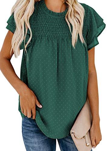 Jolicloth Camisetas Mujer Manga Corta,Cuello Redondo Encaje Crochet Pompón Fluido Blusa Elegante Camisas Casual Shirts Tops