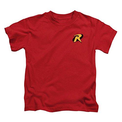 Producto oficial de DC Comics Merchandise Característica el símbolo de Robin en un rojo manga corta para niños Disponible en infantil, juvenil, y la juventud de tamaño camiseta de manga corta. Diseño serigrafiado de alta calidad Material cómodo y tra...