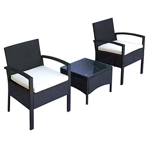 miozzi Set Salotto da Giardino 2 Poltroncine e Tavolino con Cuscini Rattan Sintetico Nero