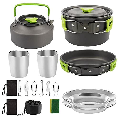 Juego de utensilios de cocina para picnic (16 piezas, para 2 a 3 personas, con ollas plegables, 1,1 l, tetera y hornillo de gas