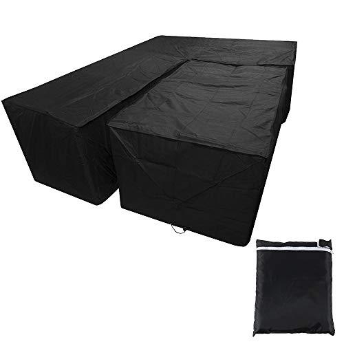 Your's Bath - Juego de fundas para muebles de jardín (215 x 215 x 87 cm), color negro