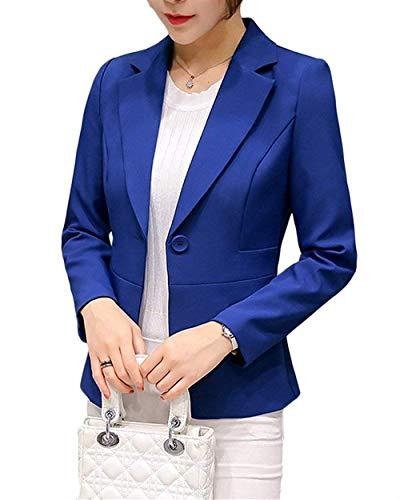 ORANDESIGNE Damen Blazer Kleid Frauen Elegant Langarm V-Ausschnitt Zweireihig Solide Hemdkleid Business Lange Hülse Büro Jacken Knopf Anzug Blau DE 36