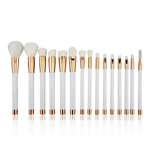 LNLW Lot de 15pcs éponge cosmétiques Ombre à paupières Eyeliner Sourcils Lèvres Nez Fond de Teint Poudre pinceaux de maquillage Ensembles (Color : White)