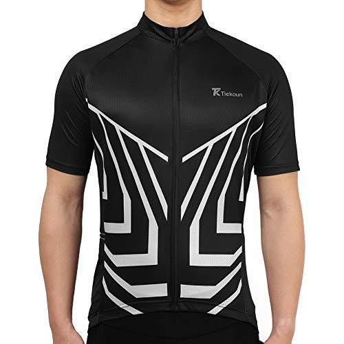 Tiekoun Men's Cycling Jerseys Tops Biking Shirts Short Sleeve Bike Clothing Full Zipper Bicycle Jacket Gray, XXXL (jersey012)
