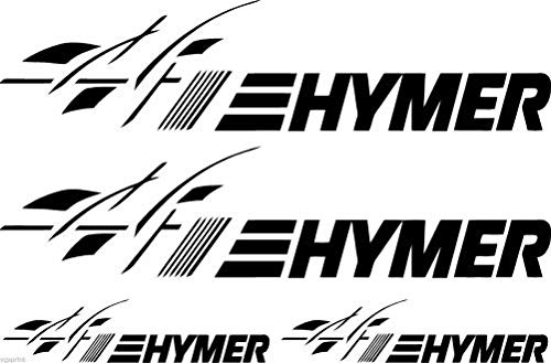 SUPERSTICKI caravanstickers Hymer + vlag 4 stuks ca.30 cm hobby caravan camper camping camper stickers Womo sticker decal high-performance folie