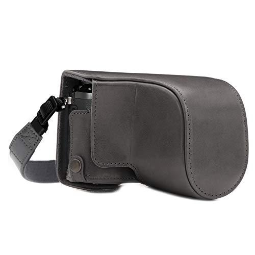 MegaGear MG1706 Ever Ready Kameratasche aus Leder, kompatibel mit Panasonic Lumix DMC-GX80, Grau