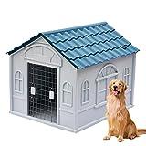 Casetas para Perros Grandes Exterior Impermeables, Caseta de Plastico para Perros, Caseta Perros Exterior con Puerta, Casa Perro Mediano, Casa Perro Grande, Casa Pe(Size:M (1-45kg animals),Color:Azul)