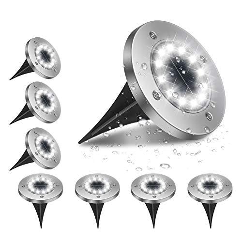 Flintronic Luci Solari Giardino, 12 Led Luce Sepolta Lampada, Impermeabile IP65 Solare Terra Lampade da Sicurezza, 600Mah Batteria per Prato Vialetto Scala Paesaggio Strade - Bianco Freddo - 8Pezzi