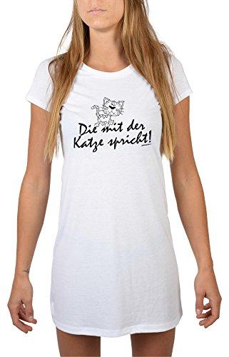 Goodman Design ® Lustiges Katzen Nachthemd tierische Sprüche : Die mit der Katze spricht! - Longshirt Damen Katze Farbe: Weiss Gr: L