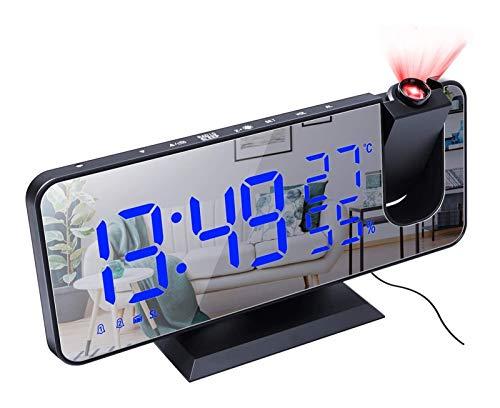 DZHTSWD-Projektionswecker mit Temperatur-Hygrometer, LED-Digitaluhr mit UKW-Radio und USB-Ladeöffnung, Persönliche Wetterstation Projektor Dimmable Uhr Snooze Duale Alarme Netzbetrieben