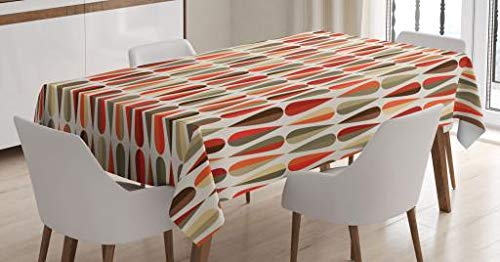 "Ambesonne Retro Tablecloth, Sixties and Seventies Style Geometric Round Shaped Design with Warm Colors Print, Dining Room Kitchen Rectangular Table Cover, 52"" X 70"", Orange Cream"