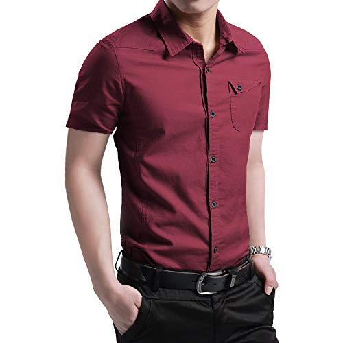 SHENSHI Camisetas Hombre,Camisas De Vestir De Negocios Tops Transpirables, Rojo Vino, Mediano