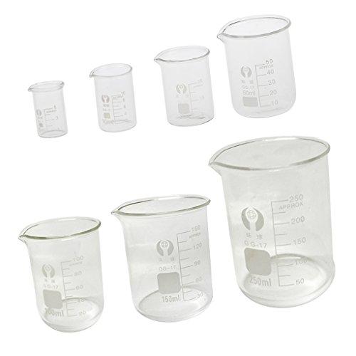 Sharplace Niedrige Form Borosilikatglas Messbecher Chemie Labor Glas Set/7Stück