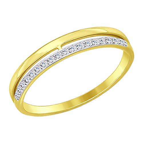 SOKOLOV Jewelry 585 Gold Damen Ring mit Zirkonia I Damen Verlobungsring Gold im sensationellen Doppel Design I Exklusiver Ehering I Designer Damen-Schmuck I Gelb-Goldring mit Zirkonia (17,5)