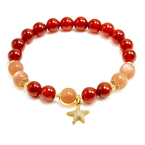 Rose&Poem Red Agate and Sunstone Crystal Bracelet, Lucky Starfish Charm, 14K Gold Plated Natural Handmade Stretch Beaded Bracelets, Spiritual Reiki Chakra Feng Shui Healing Gemstone Crystal Bead Divine Love Dainty Jewelry Gift