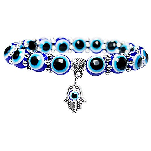 Ogquaton Premium Quality Vintage Lucky Bracelet Blue Eyes Pearl Fatima Hand for Women and Men Gifts Jewellery