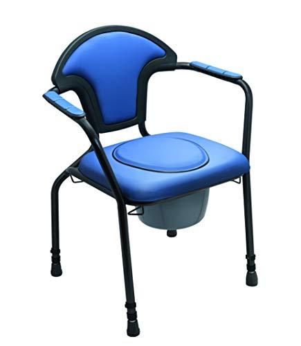 "Toilettenstuhl feststehend höhenverstellbar Nachtstuhl blau inkl. Eimer ""EXKLUSIV"""