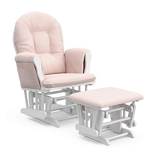 Zyfpower Gleitender Schaukelstuhl Nursing Glider für Schwangere mit Gleitsperre und passendem Fußhocker(Rosa)