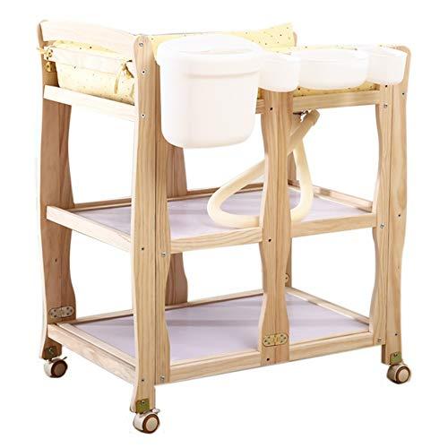 ZAQI Wickelkommode wickelaufsatz wickeltisch Faltbare Badewannenstation mit Rädern, höhenverstellbarer Wickeltisch aus Holz für gewerbliche Kinderzimmerbäder, Traglast 150 kg