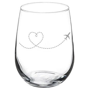 Wine Glass Goblet Heart Love Travel Airplane (11 oz Stemless)